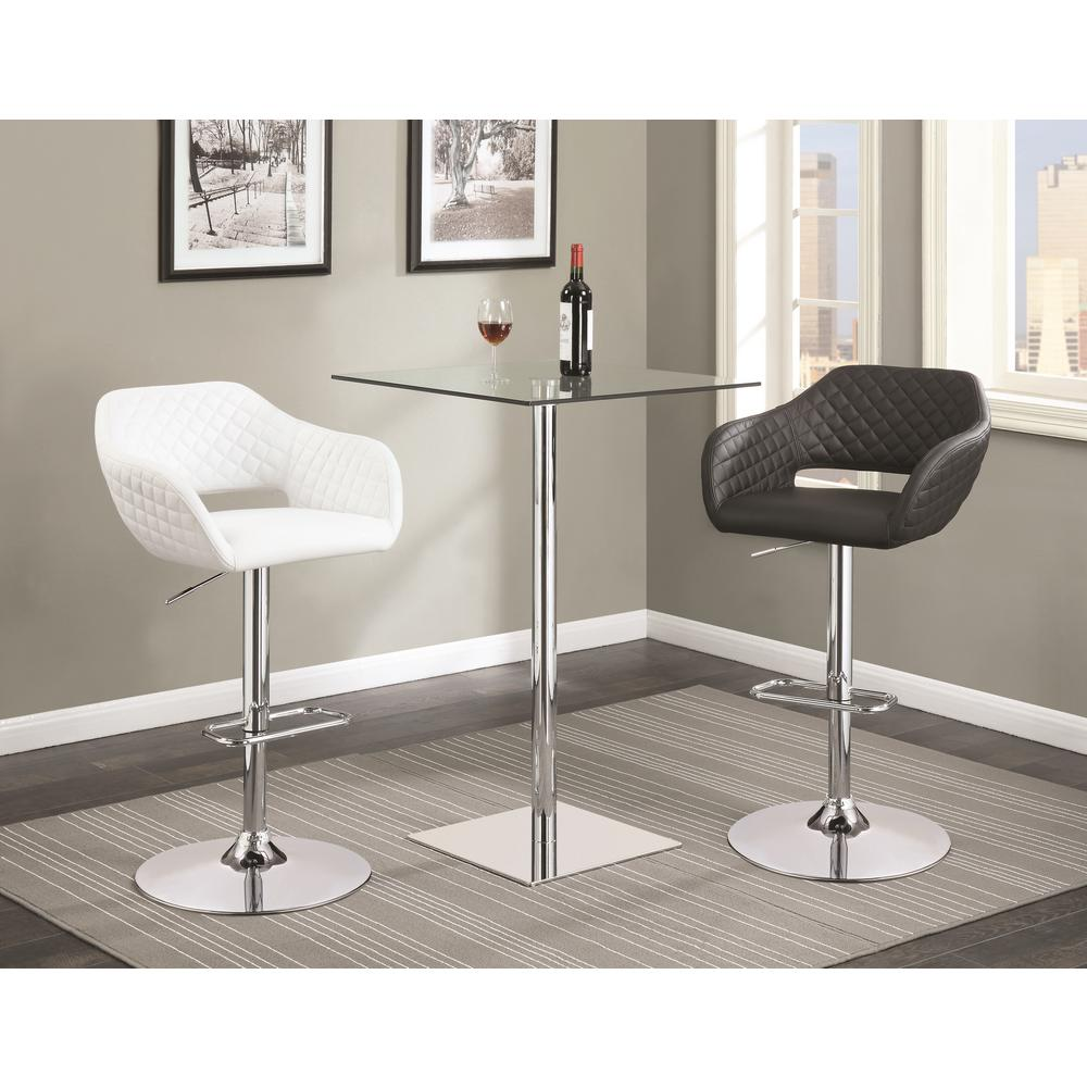 Coaster Rec Room Chrome Glass Square Bar Table