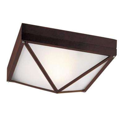 1-Light Outdoor Rust Flushmount with Frosted Glass