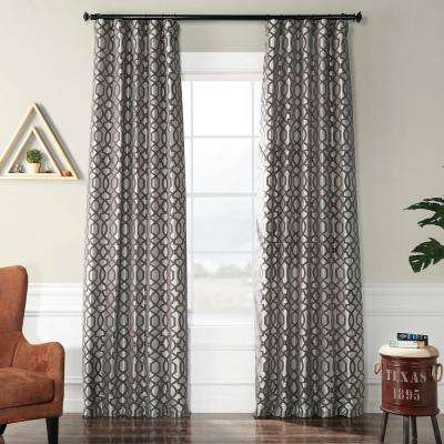 Filigree Silver and Pewter Flocked Faux Silk Curtain - 50 in. W x 120 in. L