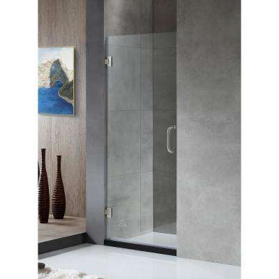 FELLOW Series 30 in. x 72 in. Frameless Hinged Shower Door in Brushed Nickel with Handle