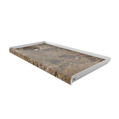 32 in. x 60 in. Single Threshold Shower Base with Left Hand Drain in Breccia Paradiso