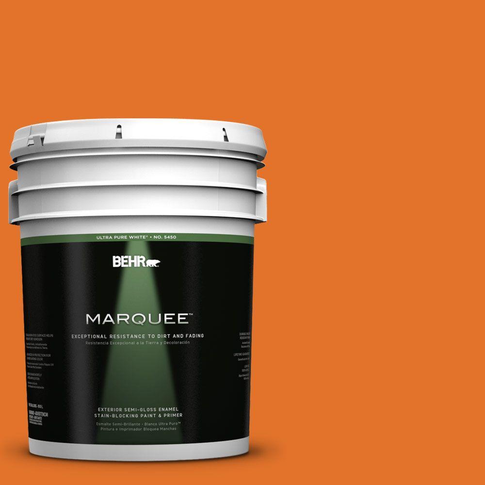BEHR MARQUEE 5-gal. #250B-7 Crushed Orange Semi-Gloss Enamel Exterior Paint