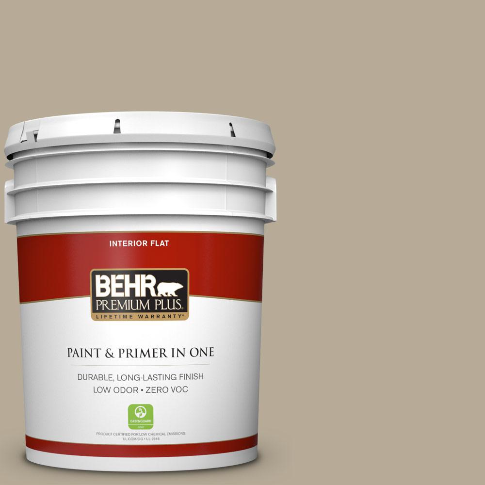 BEHR Premium Plus 5-gal. #N330-4 Explorer Khaki Flat Interior Paint