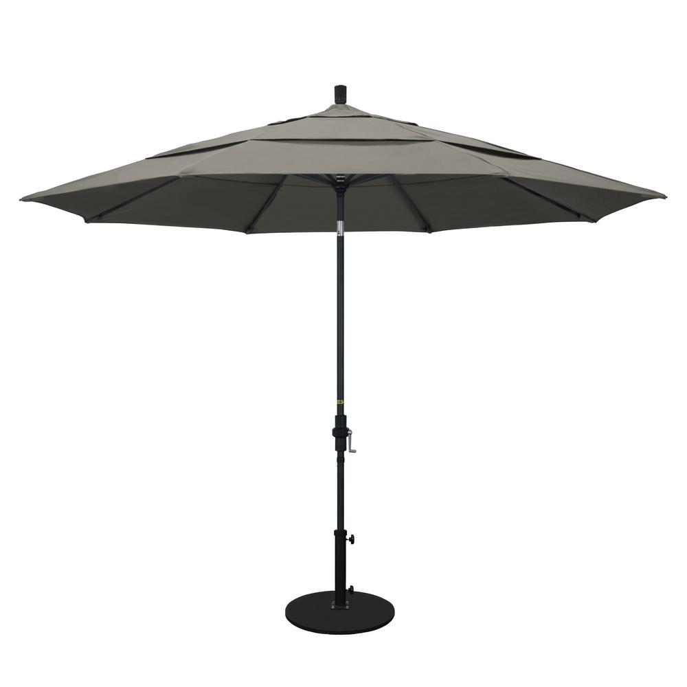 California Umbrella 11 ft. Aluminum Collar Tilt Double Vented Patio Umbrella in Taupe Pacifica