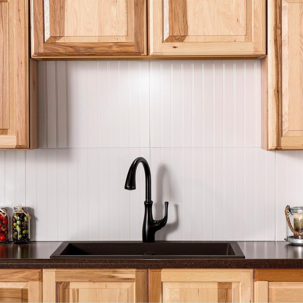 Charming Bead Board 24.25 In. X 18.25 In. Vinyl Backsplash In Gloss White