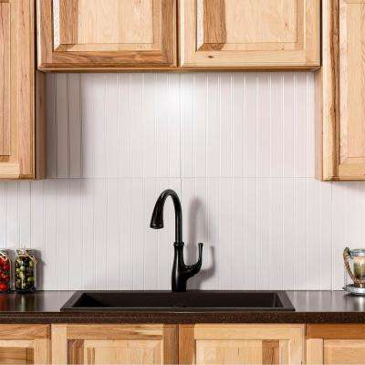 Bead Board 24.25 in. x 18.25 in. Vinyl Backsplash in Gloss White