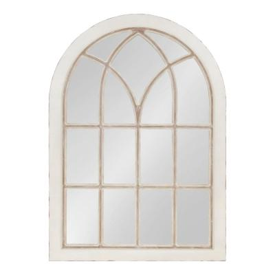 Large Arch White American Colonial Mirror (43.5 in. H x 31 in. W)