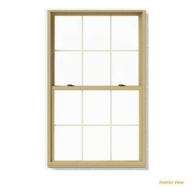 37.375 in. x 60 in. W-2500 Series White Painted Clad Wood Double Hung Window w/ Natural Interior and Screen