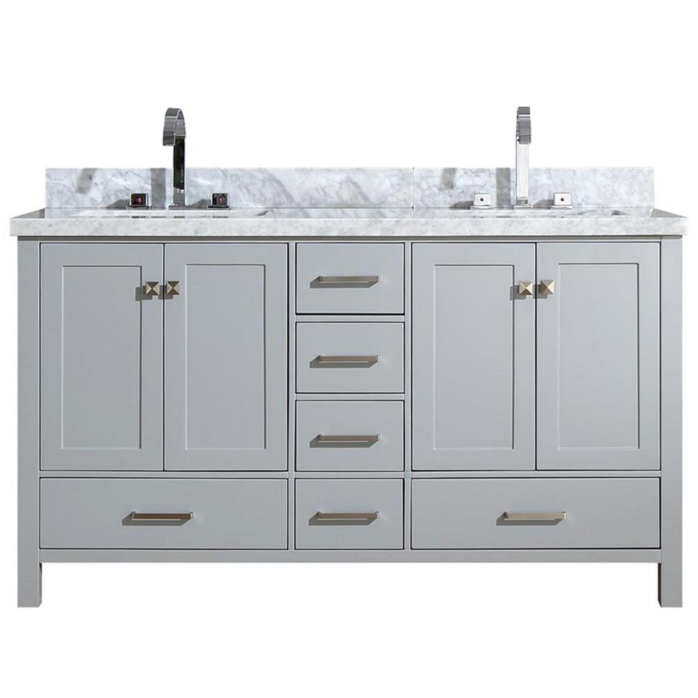 Ariel Cambridge 61 in. Bath Vanity in Grey with Marble Vanity Top in Grey with White Basins