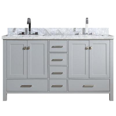 Cambridge 61 in. Bath Vanity in Grey with Marble Vanity Top in Grey with White Basins