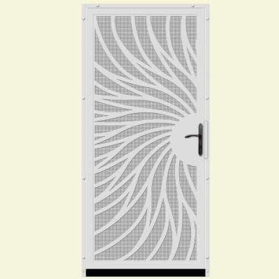 36 in. x 80 in. Solstice White Surface Mount Steel Security Door with Insect Screen and Bronze Hardware
