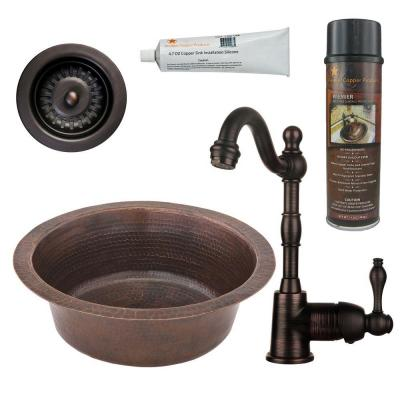 All-in-One Dual Mount Copper 14 in. Round Bar Sink with Faucet and 3.5 in. Strainer Drain in Oil Rubbed Bronze