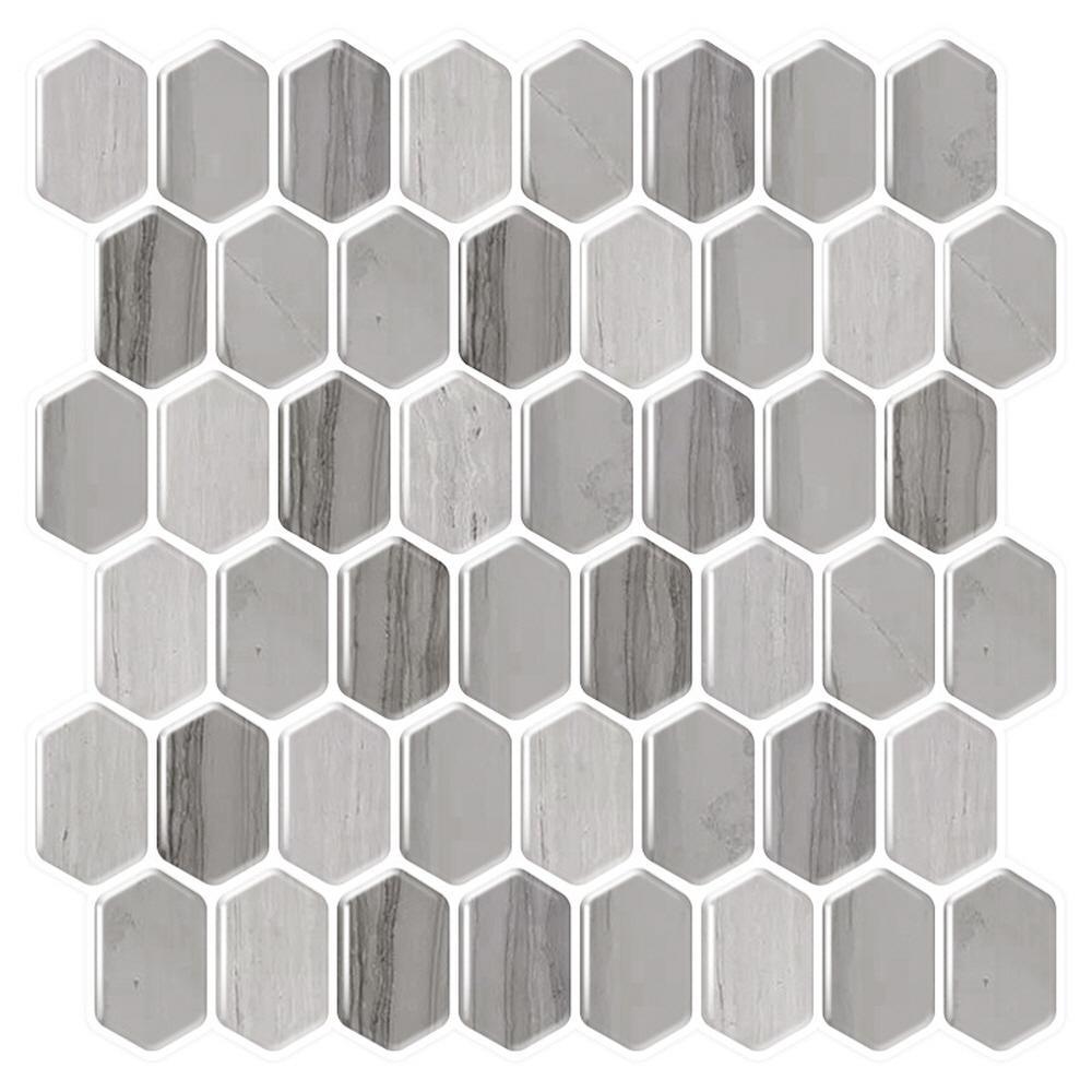 Honeycomb Mocha 10 in. W x 10 in. H Gray/Brown Peel