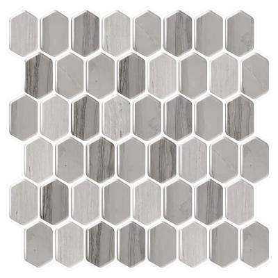 Honeycomb Mocha 10 in. W x 10 in. H Gray/Brown Peel and Stick Decorative Mosaic Wall Tile Backsplash (6-Tiles)