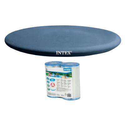 Easy Set 13 ft. Round PVC Rope Tie Above Ground; Leaf Cover with Type A/C Pool Filter Cartridges