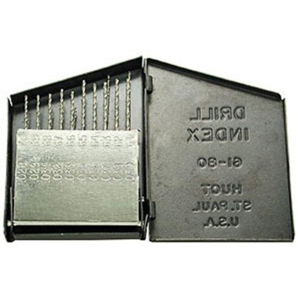 Gyros #61 - #80 Carbon Steel Wire Gauge Drills Metal Box Set (Set of 20)
