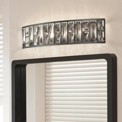Kristella 24 in. 5-Light Matte Black Vanity Light with Clear Crystal Shade