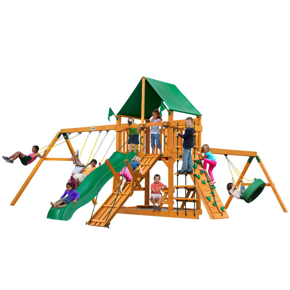 Gorilla Playsets Frontier Wooden Swing Set with Green Vinyl Canopy and Slide