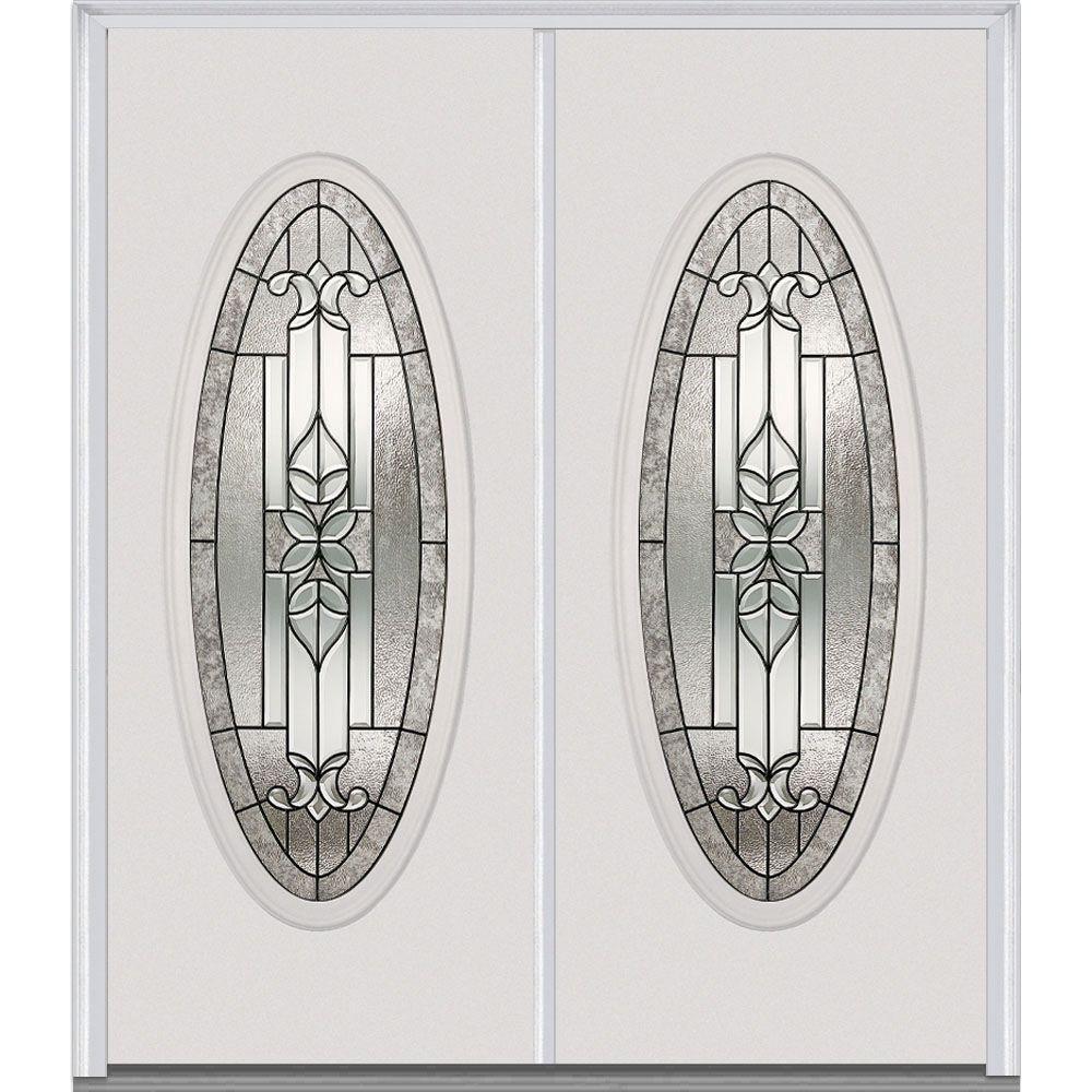 MMI Door 72 in. x 80 in. Cadence Left-Hand Inswing Oval Lite Decorative Glass Painted Steel Prehung Front Door