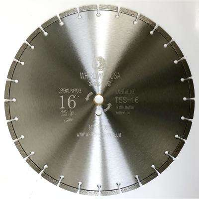 16 in. 28-Teeth Segmented Laser Welded Diamond Saw Blade for Dry or Wet Cutting Concrete Stone Brick and Masonry