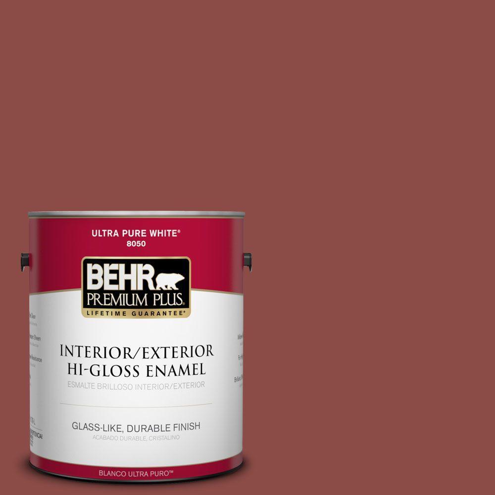 BEHR Premium Plus 1-gal. #ICC-72 Cinnabar Hi-Gloss Enamel Interior/Exterior Paint