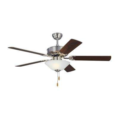 Haven LED 2 52 in. Indoor Brushed Steel Ceiling Fan with Light Kit