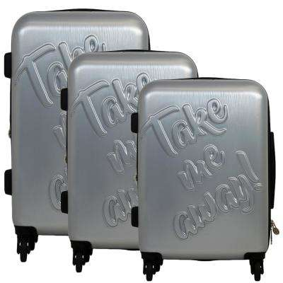 Take Me Away 29 in., 25 in., and 21 in. 3-Piece Silver Nested Luggage Set