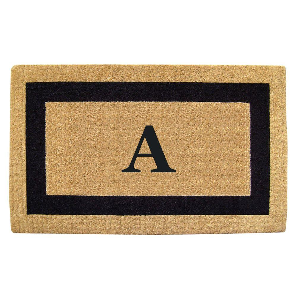 Nedia Home Single Picture Frame Black 22 in. x 36 in. HeavyDuty Coir Monogrammed A Door Mat