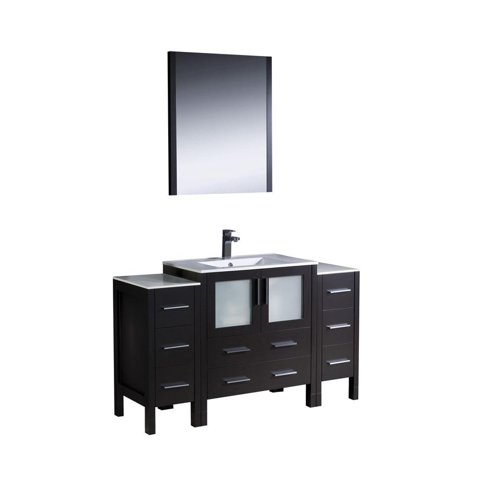 Fresca Torino 54 in. Vanity in Espresso with Ceramic Vanity Top in White with White Basin and Mirror
