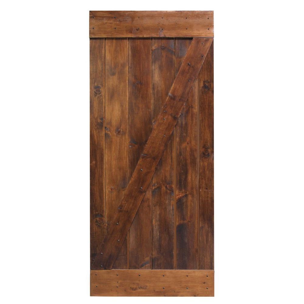 calhome 36 in x 84 in dark coffee knotty pine sliding barn wood interior door slab door b36b. Black Bedroom Furniture Sets. Home Design Ideas