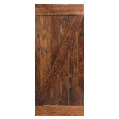 36 in. x 84 in. Dark Coffee Knotty Pine Sliding Barn Wood Interior Door Slab
