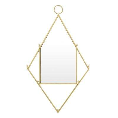 12 in. x 1.5 in. Gold Metal Frame Wall Mirror with Hooks