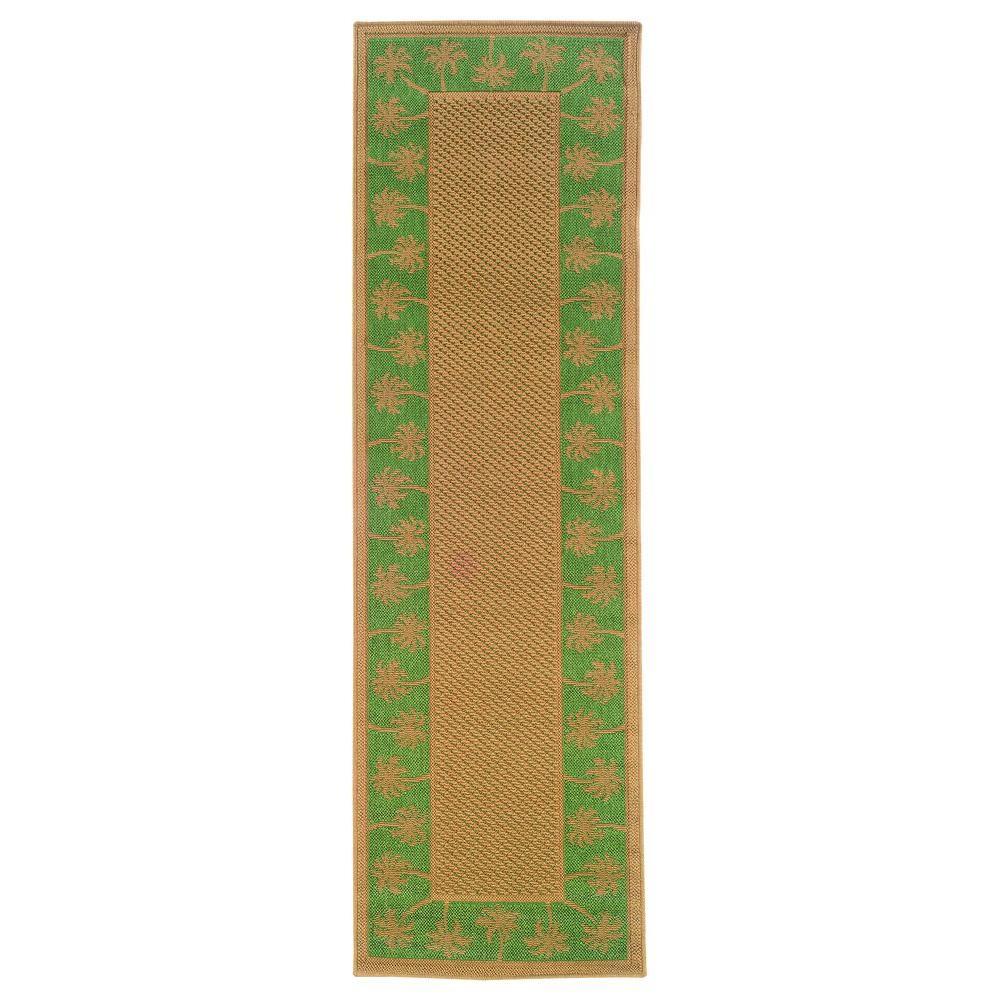 Oriental Weavers Nevis Passage Green/Beige 2 ft. 3 in. x 7 ft. 6 in. Area Rug