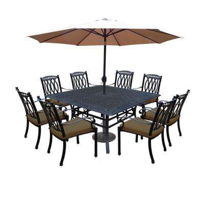 Morocco Aluminum 11-Piece Outdoor Dining Set with Sunbrella Brown Cushions and Champagne Umbrella