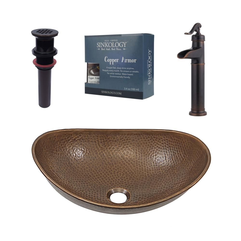 Exceptionnel SINKOLOGY Pfister All In One Copper Vessel Sink Confucius Design Kit With  Ashfield Rustic