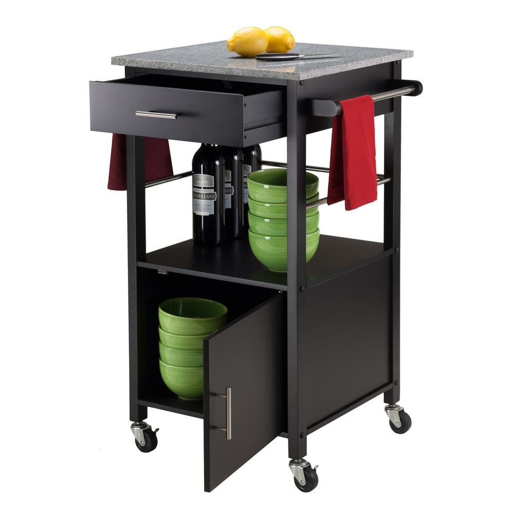 Winsome Wood Davenport Black Kitchen Cart With Granite Top 20023 The Home Depot