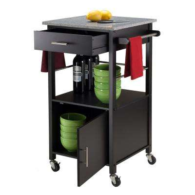 Davenport Black Kitchen Cart With Granite Top