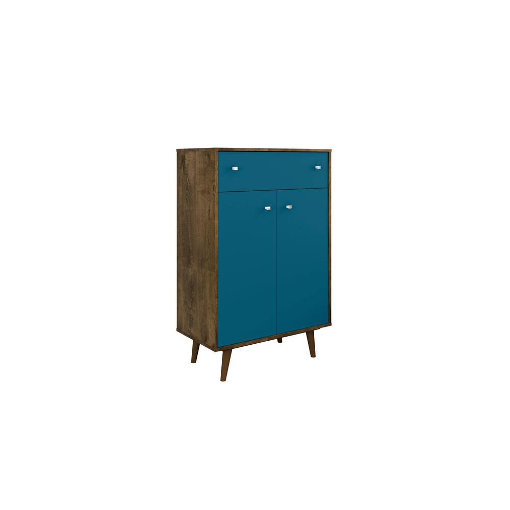 Liberty 28.07 in. Rustic Brown and Aqua Blue Storage Cabinet