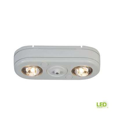 Revolve White Twin Head Dusk to Dawn Outdoor Integrated LED Security Flood Light with Photocell, 3500K Bright White
