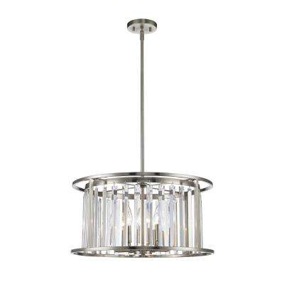 Mersesse 6-Light Brushed Nickel Pendant with Clear Crystal Shade