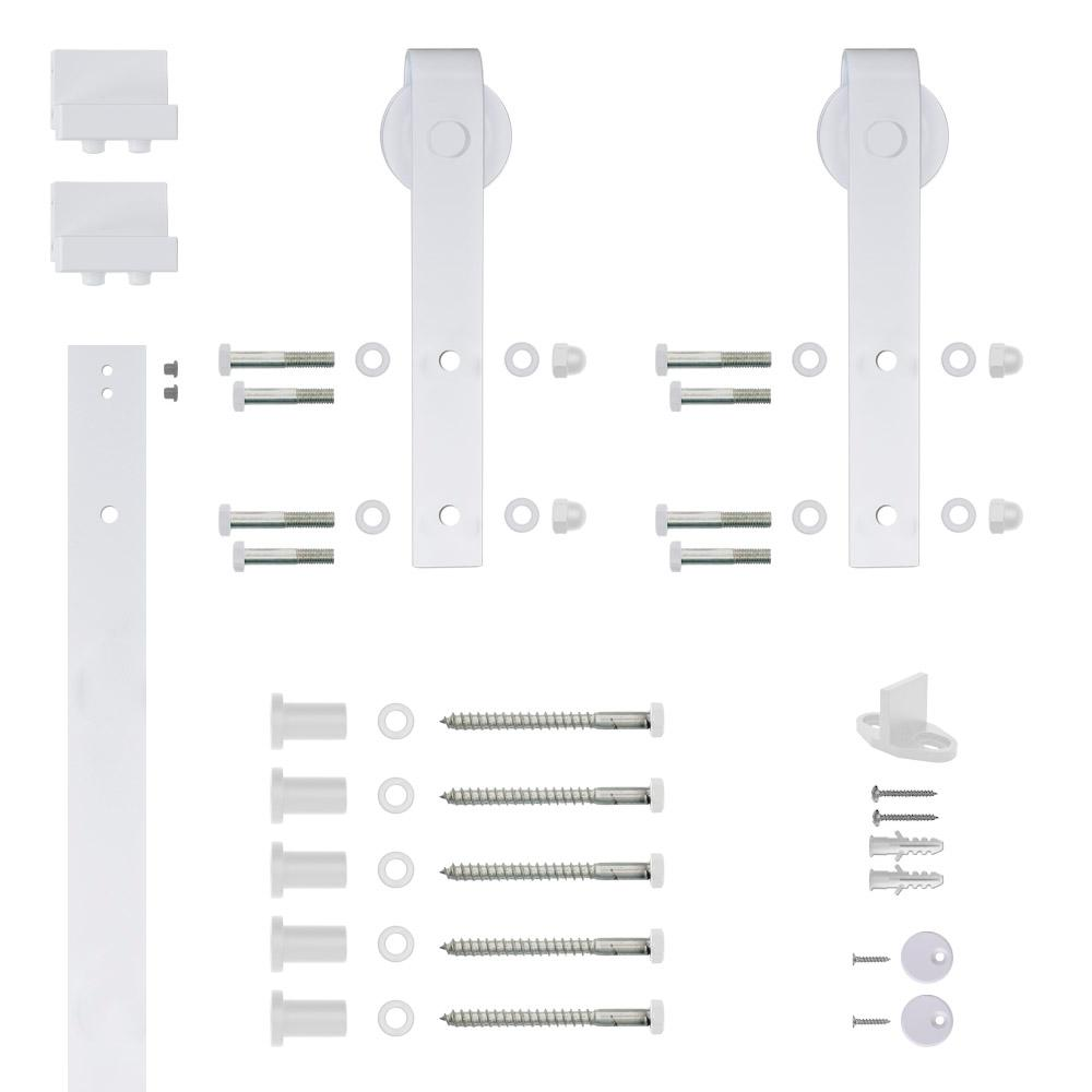 Hook Strap White Rolling Barn Door Hardware Kit with 2-3/4 in.
