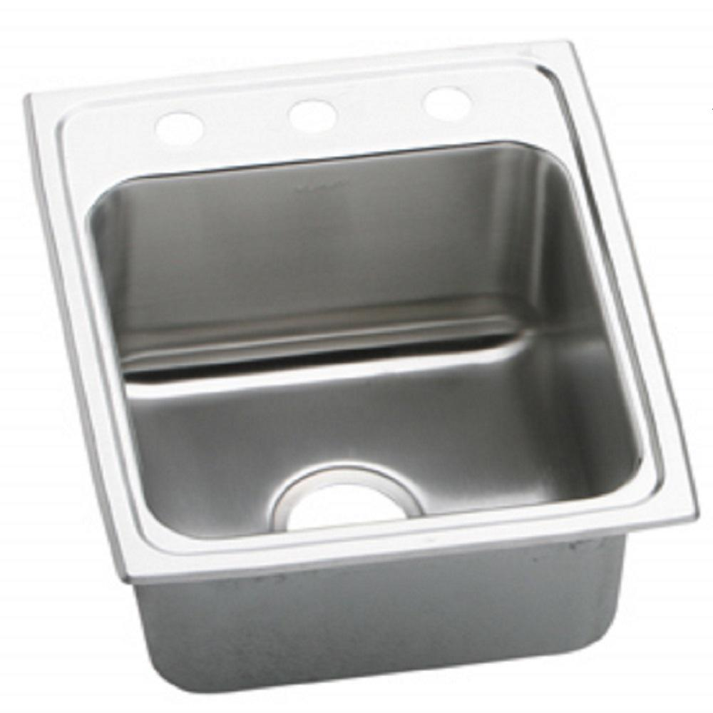 Elkay Lustertone Drop In Stainless Steel 17 In. 3 Hole Single Bowl Kitchen  Sink DLR1716103   The Home Depot