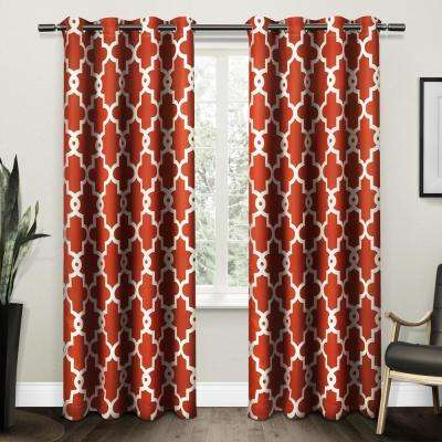 Ironwork 52 in. W x 96 in. L Woven Blackout Grommet Top Curtain Panel in Mecca Orange (2 Panels)