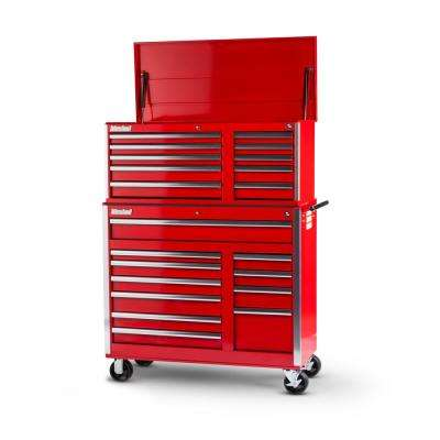 Tech Series 42 in. 21-Drawer Tool Chest and Cabinet Combo Red