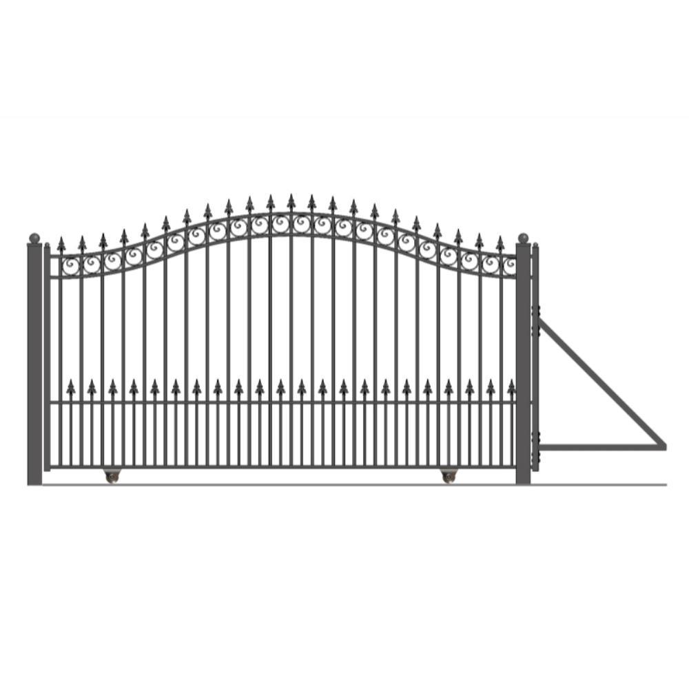 Prague Style 14 ft. x 6 ft. Black Steel Single Slide Driveway Fence Gate