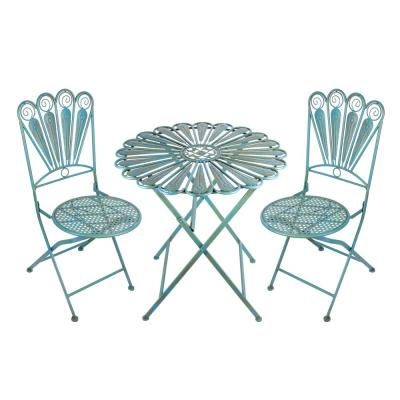 Alpine Corporation 3-Piece Outdoor Peacock Feather Rustic Metal Bistro Set