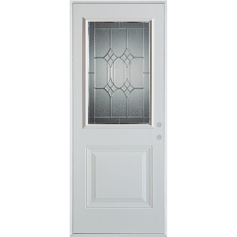 32 in. x 80 in. Orleans Zinc 1/2 Lite 1-Panel Painted White Left-Hand Inswing Steel Prehung Front Door