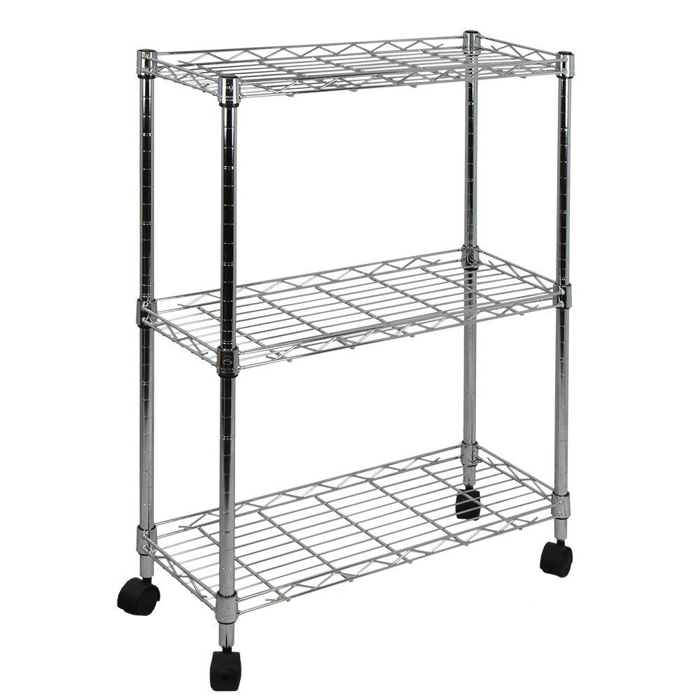 9 in. W 3-Tier Shelving All-Purpose Utility Cart in Polished Chrome