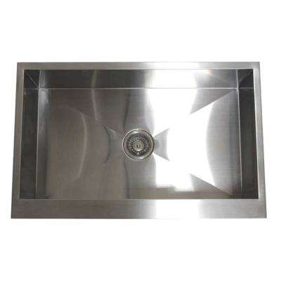Flat Farmhouse/Apron-Front Stainless Steel 33 in. x 21 in. x 10 in. 16-Gauge Single Bowl Zero Radius Kitchen Sink Combo