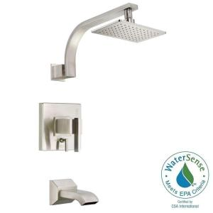 ANZZI Mezzo Series Handle Spray Tub And Shower Faucet In - Brushed nickel tub shower faucet set